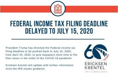 Federal Income Tax Filing Deadline Delayed to July 15, 2020